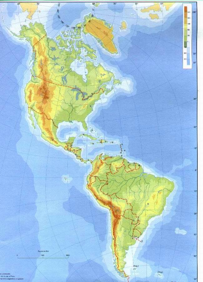 America Fisica Coloreable Politico Mapa Mudo De